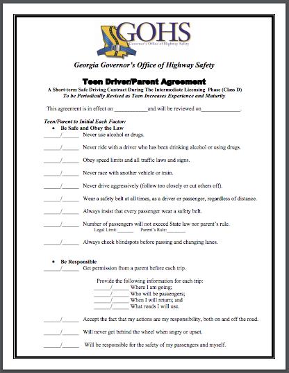 Downloadable Teen Driverparent Safety Agreement Velox Insurance